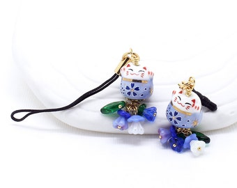 Happy Cat Blues -  Maneki Neko Lucky Cat Bead, Phone Charm / Zipper Pull, Czech Glass Flowers, Choice of Dust Plug, Lanyard or Swivel Clasp