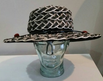 """60s Vintage mod black and white braided woven straw Panama style formal church hat 4"""" brim hat MINT"""
