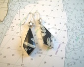 Sterling Silver Fossil Earrings Chunky Black & White 15g