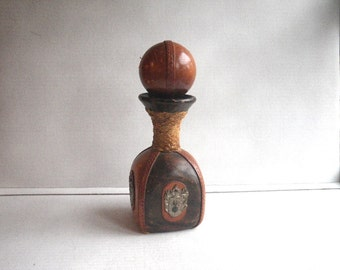 Italian Leather Covered Bottle Round Ball Stopper Square Sided