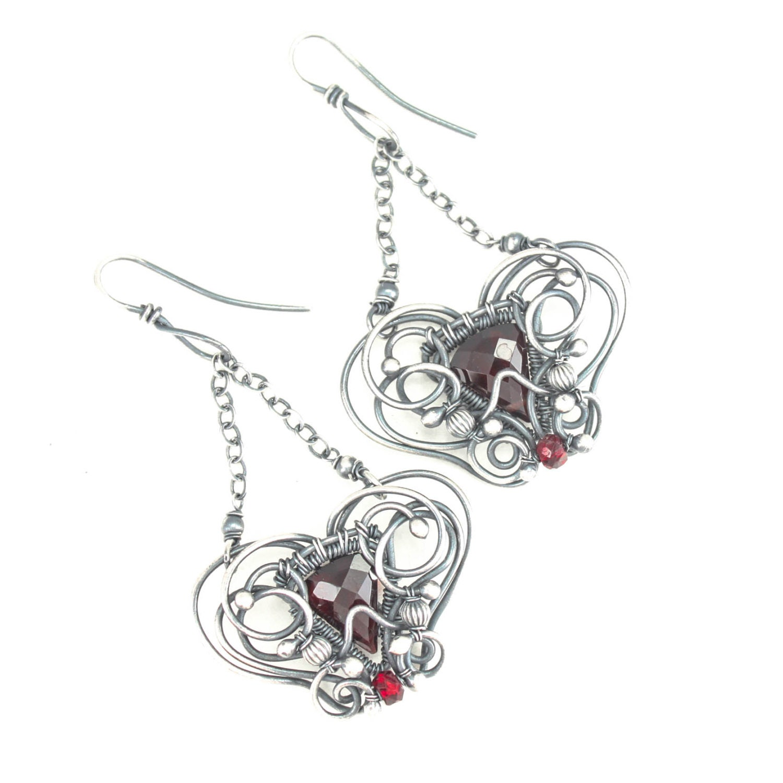 garnet wire wrap earrings sterling unique jewelry gift red