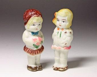 Vintage Bisque Penny Dolls - Bisque Girl Dolls - circa 1920's