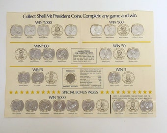 Vintage 1960s Shell Mr. President Coins Game with 23 original coins