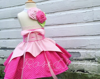Sleeping Beauty inspired Dress Up Costume Apron, Half Apron, Make it Pink Style....Made to Order