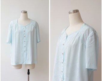 Light Blue Pastel Blouse L XL Powder Blue Blouse Button Up 1980s Blouse Oversized Top Plus size