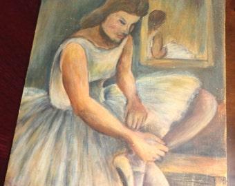 Vintage Impressionist Ballerina Ballet Dancer Oil Painting Dancer at Rest Repose with Mirror Image in Background Modernist
