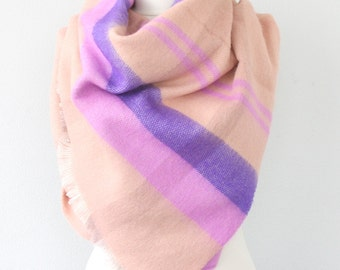 Salmon pink scarf blanket scarf winter scarf fall scarf soft vegan scarf tartan scarf christmas gift for her mothers gift birthday gift