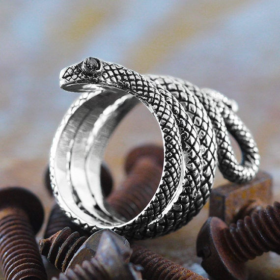Silver Snake Ring Sterling Jewelry Uncut Black Diamonds Personalize Rings