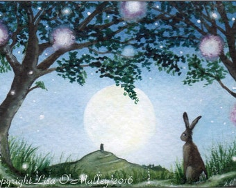 "ACEO Print ""Moonlights"" Hare. Moon."