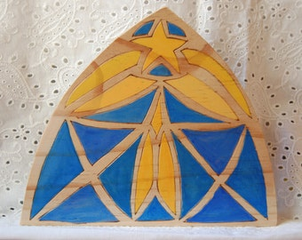"Star ""Stained Glass"" design Wooden Background for Nativity, Sculptures, Nature Table"