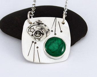 """Handcrafted Sterling Silver and Malachite Square Pendant """"Collage"""" Natural Stone Contemporary Artisan Jewelry Design 088868591216"""