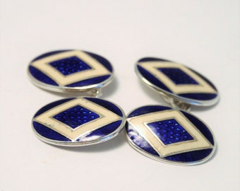Vintage sterling silver and enamel cufflinks.  Blue and white enamel cufflinks