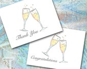 Champagne Toast Note Cards, Design Your Own, Thank You, Wedding, Golden Anniversary, Cheers, Congratulations, Engagement, New Years Party