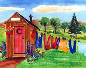 Personalized Monday Morning Wash  Matted Art Print ( Your name added to the sign on the Outhouse ) funny Outhouse Humor