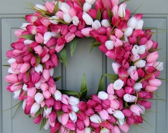 Spring Wreath - Wreath for Spring Door - Spring Tulip Wreath - Front Door Wreath