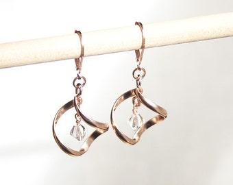 Handmade Rose Gold Earrings Rose Gold Dangle Earrings Rose Gold Twist Earrings Rose Gold Swarovski Earrings