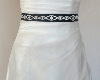 Elegant Eyes Rhinestone Beaded Wedding Dress Sash Belt on the black ribbon