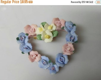 CIJ 60% SAVINGS Avon Hearts and Flowers Brooch Porcelain