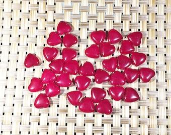 Ruby jade heart beads