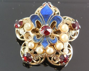 Vintage Brooch with Enamel Fleur de Lis Rhinestone and Faux Pearls