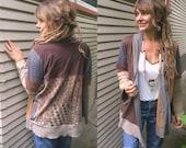 Eco Wrap JACKET, SizeS-L, patchwork wrap, wrap jacket, festival jacket, hippie clothing,jersey jacket,  earthy jacket, neutral wrap, zasra