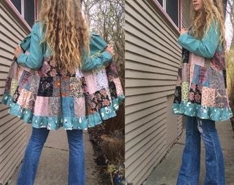 Patchwork Jacket, Size S/M,festival jacket, patchwork blazer, eco jacket, upcycled jacket, hippy coat, corduroy jacket, Zasra