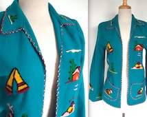 Vintage 1940's Souvenir Jacket // 40s 50s Blue Wool Mexican Fiesta Jacket with Hand Embroidery // Rockabilly // DIVINE