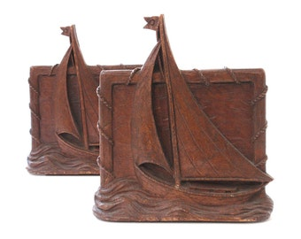 Vintage Syroco Sailboat Bookends