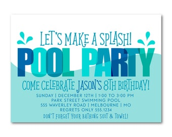 Pool Party Birthday Invitation, Printable Birthday Invitation, Swim party, Splash Party Invitation, Printable, Digital,  1510