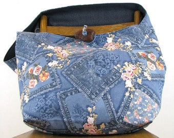 CROSSBODY HOBO BAG - Oversized Bag - Large Bag - Vegan Bag - Over Shoulder Bag - Hobo Bag - Crossbody Purse - Vegan Purse - Denim Bag