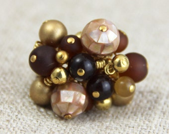Golden Brown Cluster Ring - Beaded Cluster Adjustable Ring - Gold Chocolate Brown Taupe Big Chunky Cocktail Statement Ring