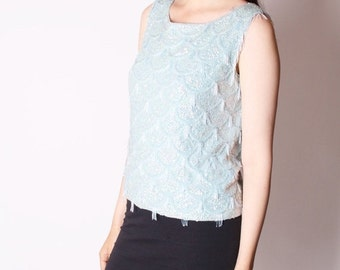 SALE 65% OFF ends 02/16 60s Sequin Pastel Blue Beaded Cocktail Sweater / 60s Pastel Beaded / Blouse / Top/ Vintage Tops / 2350