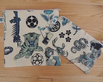 Reusable Zipper Sandwich and Snack bags BPA Free Eco Friendly Set of 2 Japanese Tattoo asian geisha tiger ninja asian print