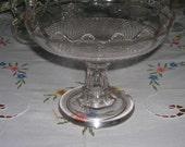 Antique Vintage Crystal EAPG Pedestal Glass Compote Fine Cut Diamond & Scalloped Top Edge Circa 1918