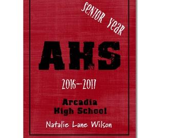 Hardcover Memory Book - High School Senior Year (Class of 2018) Graduation Scrapbook Photo Album Keepsake, Smash Book, Big Brown Chair