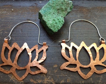 Copper lotus hoop earrings, metal lotus blossom earrings, lotus statement earrings