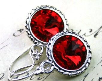 ON SALE Siren Red Swarovski Rivoli Crystal Earrings - Light Siam Red - Swarovski Crystal and Sterling Silver