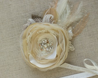 Burlap Hair Accessories, Wedding Headpiece, Wedding hair flower, Bridal hair flower, Wedding hair piece, Bridal hair piece, Rose Gold Silver