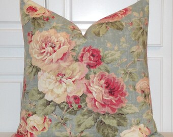 BOTH SIDES Floral Roses Decorative Pillow Cover - Cottage Chic - Shabby Chic - Red - Pink - Sage - Blue - Accent Pillow - Toss Pillow