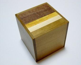 Japanese Puzzle box (Himitsu bako)- 2.1inch(54mm) Cube 4steps Natural wood