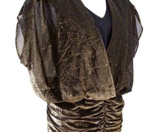 Vintage 80s Gold and Black Jumpsuit - Metallic Gold Lurex Black Pants Jumpsuit - Avant Garde 1980s Lurex Evening Pants - Medium 11