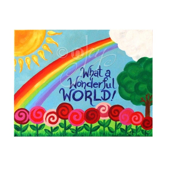 Art for Children, What a Wonderful World No.2, 14x11 inch painting for girls room