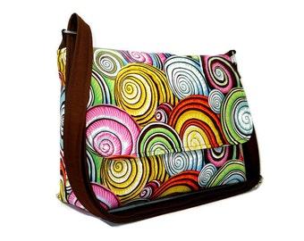 Colorful Fabric Purse, Medium Crossbody Bag, Women's Messenger Bag, Spiral Shells Print Bag, Fabric Purse, Cross Body Bag, Adjustable Strap