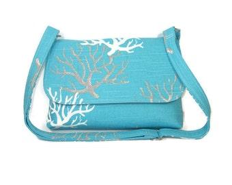 Small Blue Crossbody Bag, Aqua, White and Gray Print,  Fabric Purse, Cross Body Bag for Women, Cotton Handbag, Small Canvas Bag