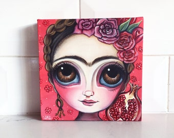 """ORIGINAL PAINTING """"Frida and the Pomegranate"""" by Jaz Higgins"""