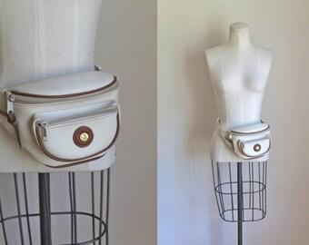 vintage fanny pack - SOURDOUGH white leather waist bag