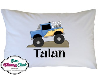 Truck Pillow Case Personalized Truck Pillowcase Travel or Standard Size