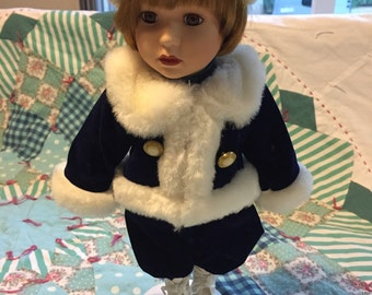 Vintage Porcelain Doll Blue Velvet and Fur Outit With Stand #3885