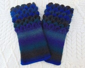 Crocodile Stitch Crochet Wrist Warmers Shades of Blues  Wrist Cuffs Handmade in Ireland