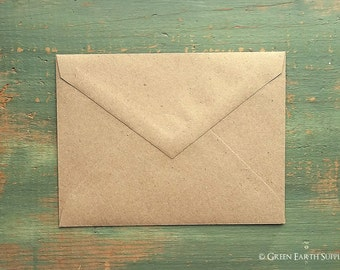 "50 A1 Pointed Flap Kraft Envelopes, 3 5/8"" x 5 1/8"" (92x130mm), grocery bag kraft brown envelopes, 4bar envelopes, RSVP triangular flap"